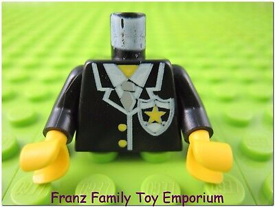 White Shirt and Black Tie Minifig Torso Coat with Brown Fur Trim LEGO