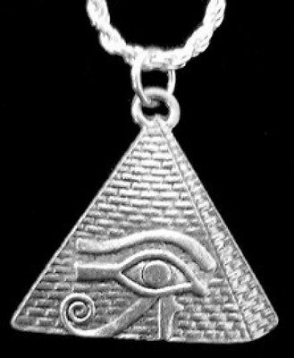 LOOK New Eye of Horus Pyramid Egyptian Egypt Charm Real Sterling Silver .925 Jew