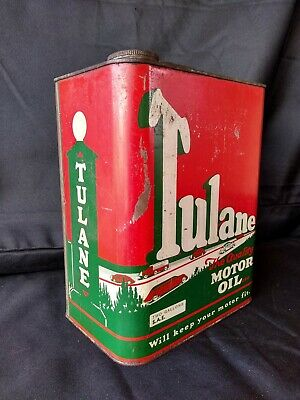Vintage 1930s TULANE Oil Old Tin Metal Can W/ Car Graphic Sign RARE 2 Gallon