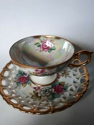 Shafford luster teacup & saucer gold trim hand painted  floral  open lace Japan