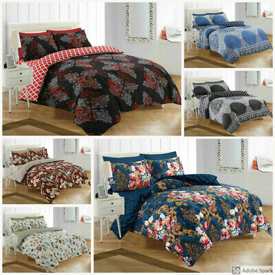 4 Piece Bedding Set Fitted Sheet Quilt Duvet Cover Pillowcase Single Double King