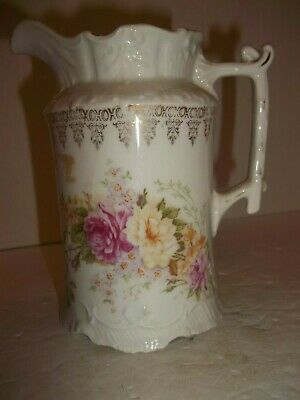 Vintage CT Germany Carl Tielsch Victorian Syrup Pitcher Creamer Twig Handle Gold