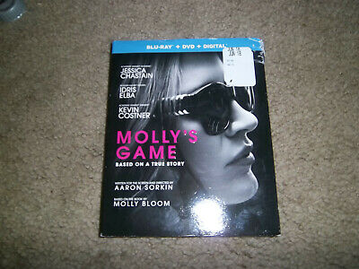 Molly's Game (Blu-ray, DVD, 2018) With Slip Cover* NO Digital*Jessica Chastain