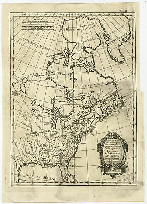 Antique Map-NORTH AMERICA-USA-CANADA-FLORIDA-Bonne-c. 1780