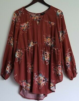 Torrid Womens Plus Size  Floral Tunic Blouse Top Shirt Long Sleeve Boho Size 0