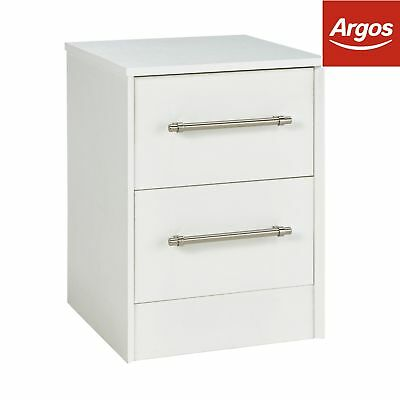 Victoria 2 Drawer Bedside Chest - White