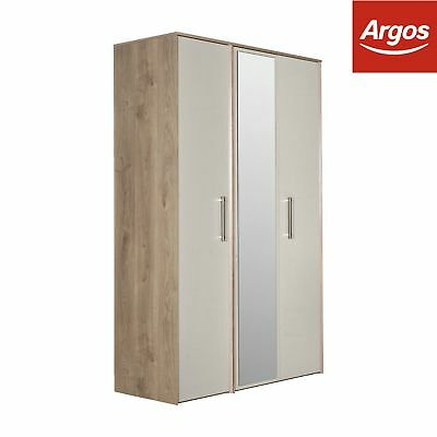 Victoria 3 Door Mirrored Wardrobe - Grey Cashmere