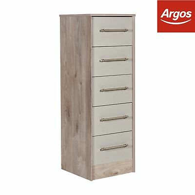 Victoria 5 Drawer Tallboy Chest - Grey Cashmere