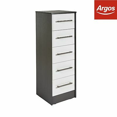Victoria 5 Drawer Tallboy Chest - White Gloss and Graphite.