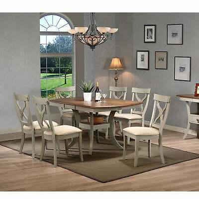 Balmoral Shabby Chic Country Cottage Antique Oak Wood and Brown, White 7-Piece S