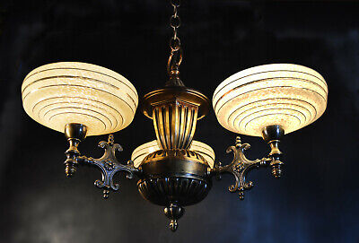 Stunning art deco Italian 3 arm heavy bronze chandelier French handmade shades