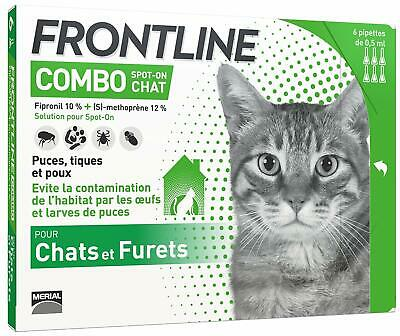 FRONTLINE Combo Chat - Anti-puces et anti-tiques pour chat - 6 pipettes NEUF FR