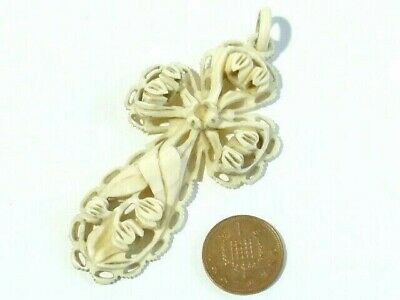 """Antique Hand Carved Floral Detailed French Dieppe Cross Pendant 3"""" Long Crucifix"""