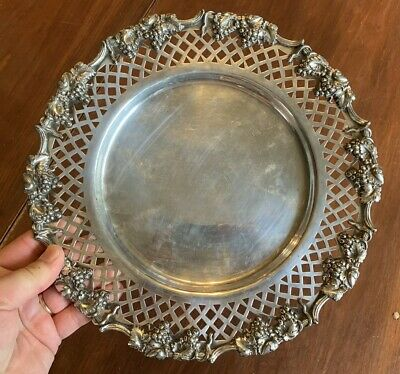 Vintage E.G. Webster & Son Silverplate Serving Tray Plate with Grape Designs 11""
