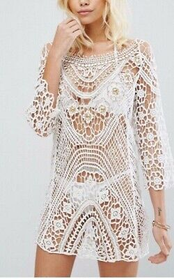 cf119a7af3 RIVER ISLAND WHITE Embellished Crochet Beach Tunic Cover Up SMALL ...
