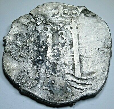 1675 Spanish Shipwreck Silver 8 Reales Eight Real Old Pirate Treasure Cob Coin