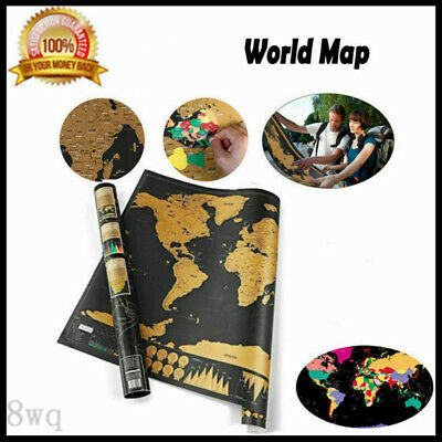 Poster Journal Log Giant Map Of The World Deluxe Gift Scratch Off World Map