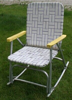 Surprising Vintage Aluminum Folding Webbed Lawn Rocking Chair Rocker Gmtry Best Dining Table And Chair Ideas Images Gmtryco