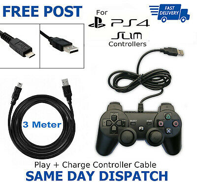 3m Long Charger Charging Lead Cable For PlayStation PS4 Slim Wireless Controller