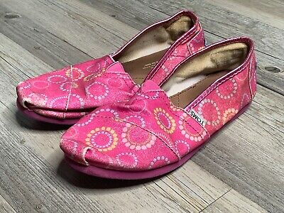 ad854c414989 Toms Youth Girl's Slip On Canvas Flats Size 4Y Classic Pink Flower Glitter  CLEAN