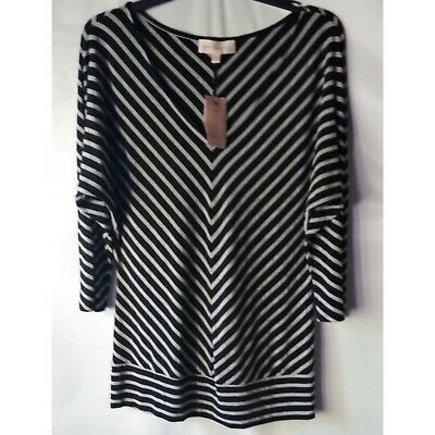 Philosophy Women's Top Batwing 3/4 Sleeve Black Heather Gray Large NWT