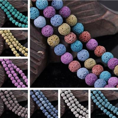20pcs Volcanic Lava Rock Natural Stone Gemstone Round Spacer Loose Beads 10mm