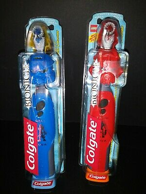 Colgate Lego Bionicle Toothbrush Battery Operated Very HTF RARE Red & Blue 2