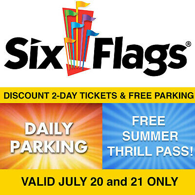 $124 Discount Six Flags Over Georgia 2-Day Tix Free Parking Thrill Pass 7/20-21