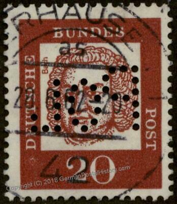 Germany BRD Bundes Polizei POL Lochung Police Perfin Official Stamp Used 60945
