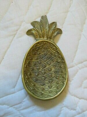 Vintage Brass Pineapple Trinket Dish Catchall Coin Tray Footed Soap Dish