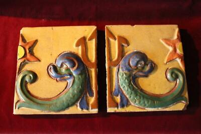 """Rare Antique Matched Pair of Ceramic Tiles """"Poseidon's Trident & Dolphins"""""""