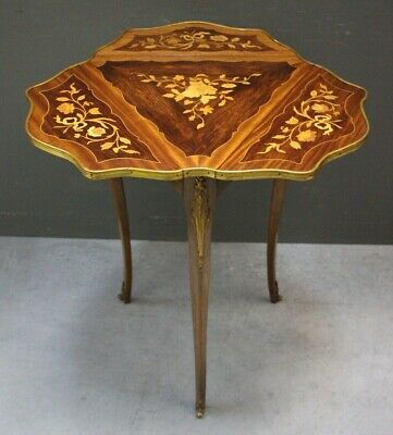 Antique French marquetry wine table occasional table marquetry inlay ormolu 1920