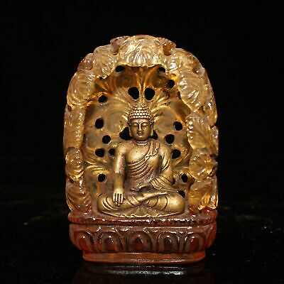 Antique antique collectibles folk old glass inlaid pure copper Buddha   statue
