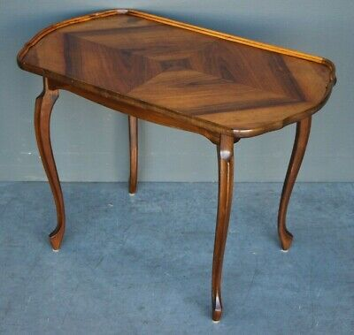 Antique French walnut lamp table carved marquetry rare Art nouveau original 1910