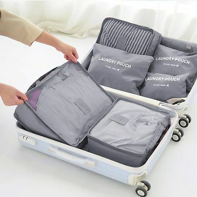 6pcs Travel Storage Bags Waterproof Luggage Organizer Pouch Clothes Packing Bags