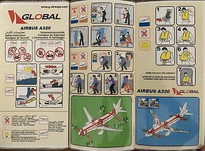 GLOBAL Airbus A320-200  Safety Card , VERY Rare !
