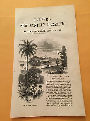 KQ) 1853 Harper's Monthly Visit To Land of Cocoa & Palm Rio de Janeiro Engraving