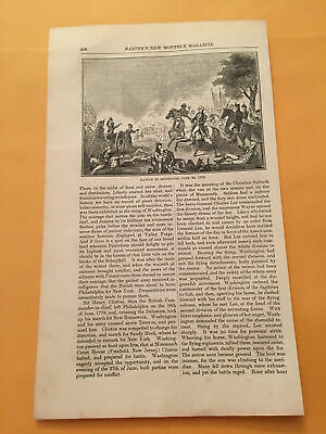 KR) 1853 Harper's Monthly George Washington Battle Of Monmouth 1778 Engraving