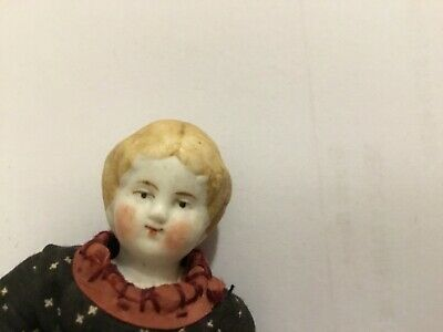 Antique Bisque Jointed Girl Doll House Doll 3.5 inches (9 cm)
