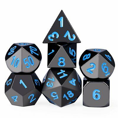 Metal Dice Set DND RPG MTG Role Playing Game Dungeons & Dragons D&D, Blue