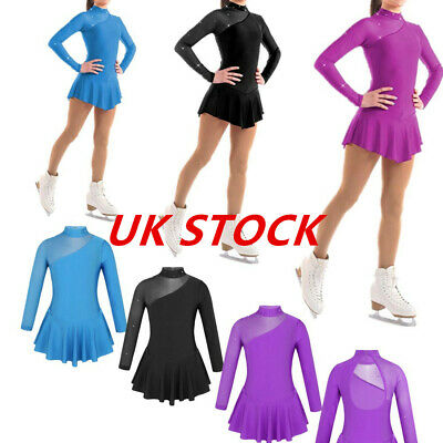 UK Girls Ballet Dancewear Ice Skating Roller Skating Dress Child Show Costumes