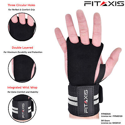 55b6755bf56b6 CROSSFIT GRIP - Leather Black 3 Hole Integrated Wrist Wrap