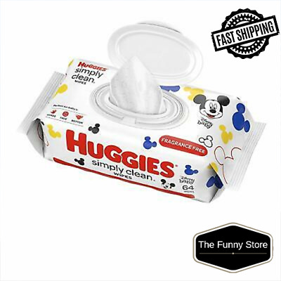 HUGGIES Simply Clean Fragrance Free Baby Wipes, Soft Pack (64 PCS) Fast Shipping