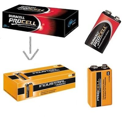 100x 9V- Bloc MN1604 Batteries Duracell Industriel Succession V.Duracell Procell
