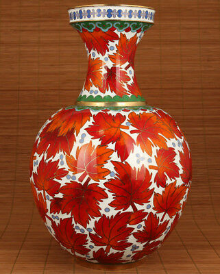 antique Chinese Old cloisonne Hand-Carved maple leaf Statue vase