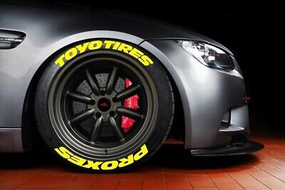 """Permanent Tire Stickers Yellow TOYO TİRES PROXES Fits 14"""" To 22""""Tires(10decal)"""