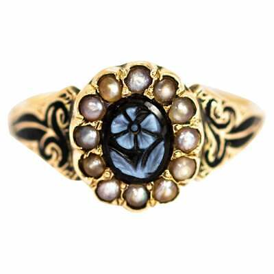 Victorian Sardonyx and Enamel 'Forget Me Not' 9 Carat Gold Ring