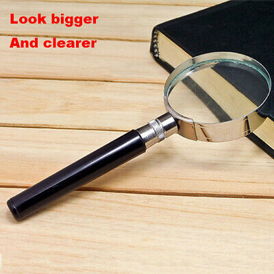 10X Magnification Handheld Magnifier Magnifying Glass Handle Low Vision Aid 50mm