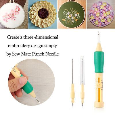 ABS Punch Sewing Tool Magic Embroidery Pen Set Plastic DIY Threaders Needles