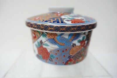 fb1C JAPANESE PORCELAIN COVERED IMARI DESIGN DISH with lid 3 1/2 x 4 inches